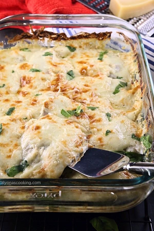 Zapékané rybí filé se špenátem a sýrem
