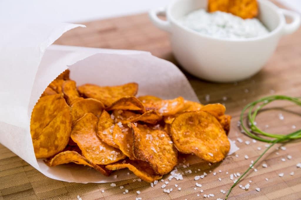Domácí smažené bramorové chipsy