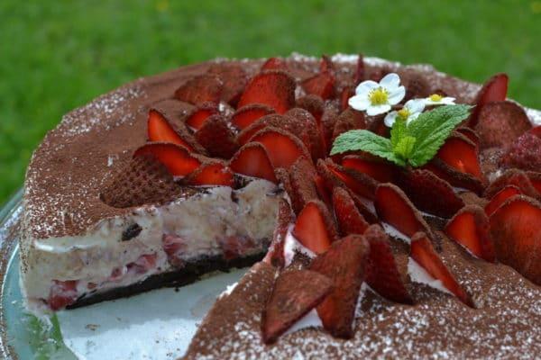 Nepečený jahodový dort s kakaem