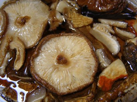 Chutné naložené houby.