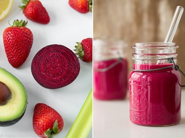 Červen detoxikační smoothie. Čerstvé jahody, řepa a avokádo.