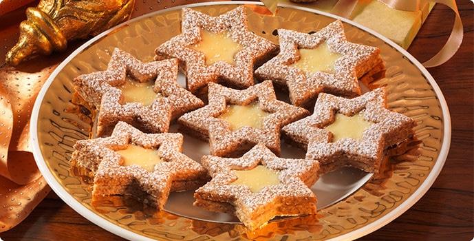 Plněné vánoční cukroví hvězdičky.