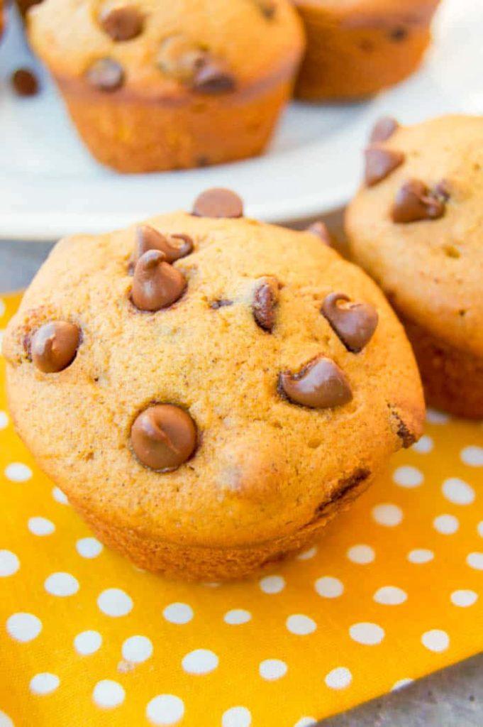 Dýňové muffiny s kousky čokolády.
