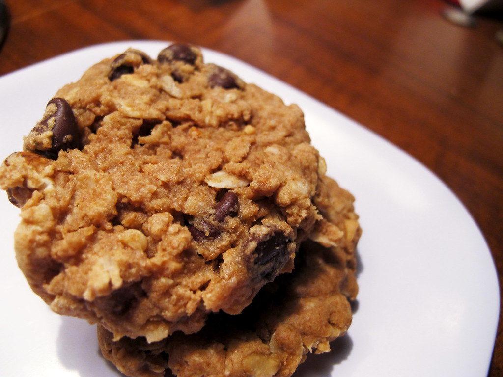 zdravé ovesné sušenky s kousky čokolády