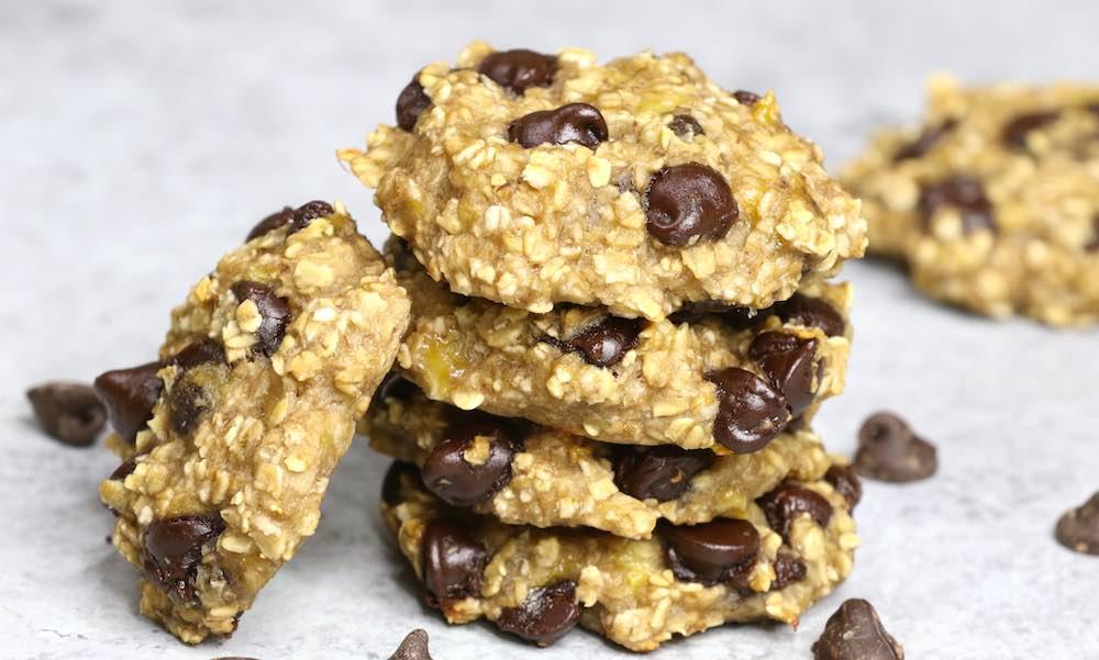 čokoládovo-banánové sušenky z ovesných vloček
