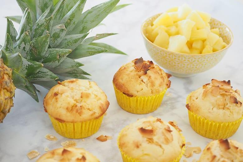 tvarohové muffiny s ananasem a kokosem