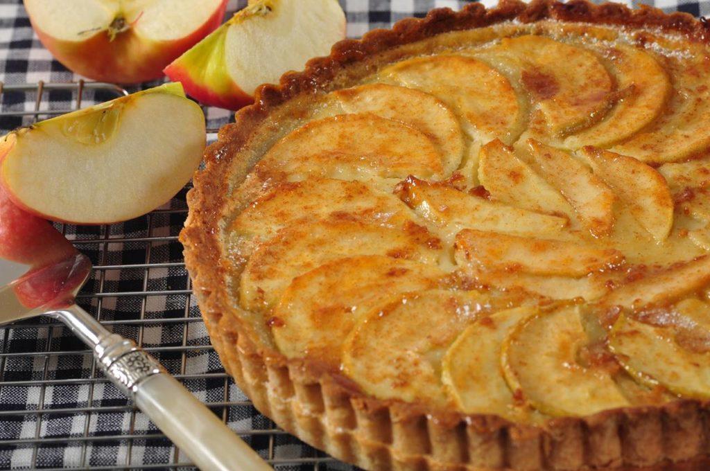 tvarohový koláč se zapečenými jablky na povrchu