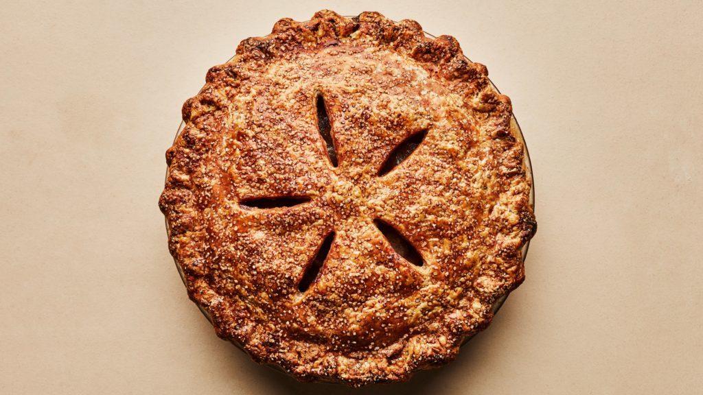 koláč z lineckého těsta s jablečnou náplní