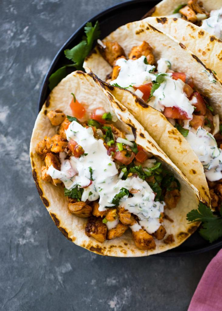 Tacos s koriandrovým přelivem