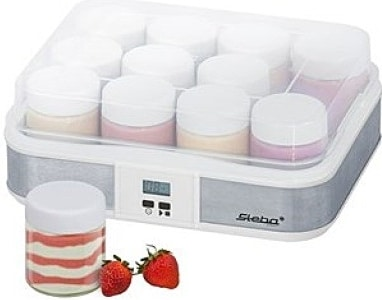 Výrobník jogurtu se skleničkami pro početnou rodinu.
