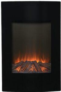 Krb na elektřinu G21 s hořícím dřevem.