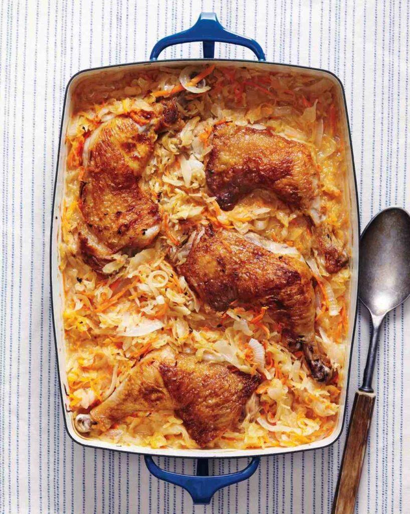 Recept na kyselé zelí s kuřecím masem.
