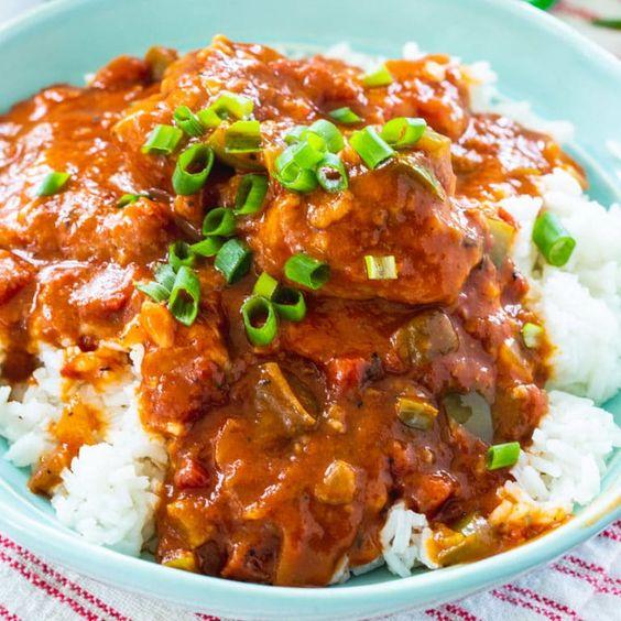 Kaťák s rýží a jarní cibulkou