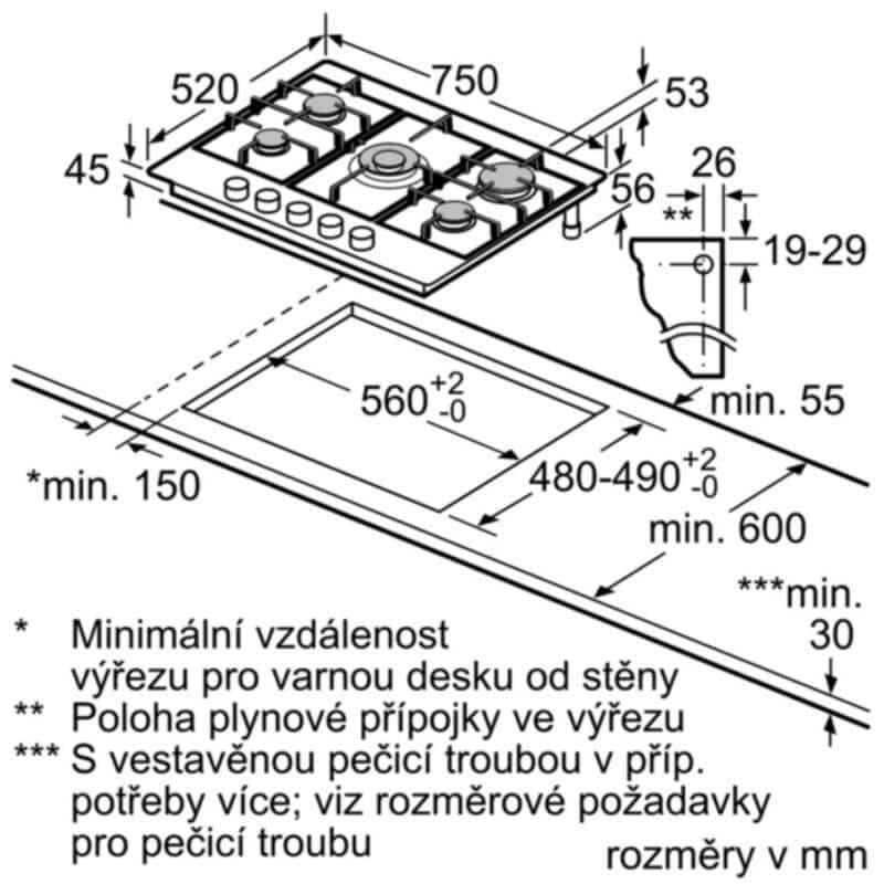 Ukázka instalace varné plynové desky.