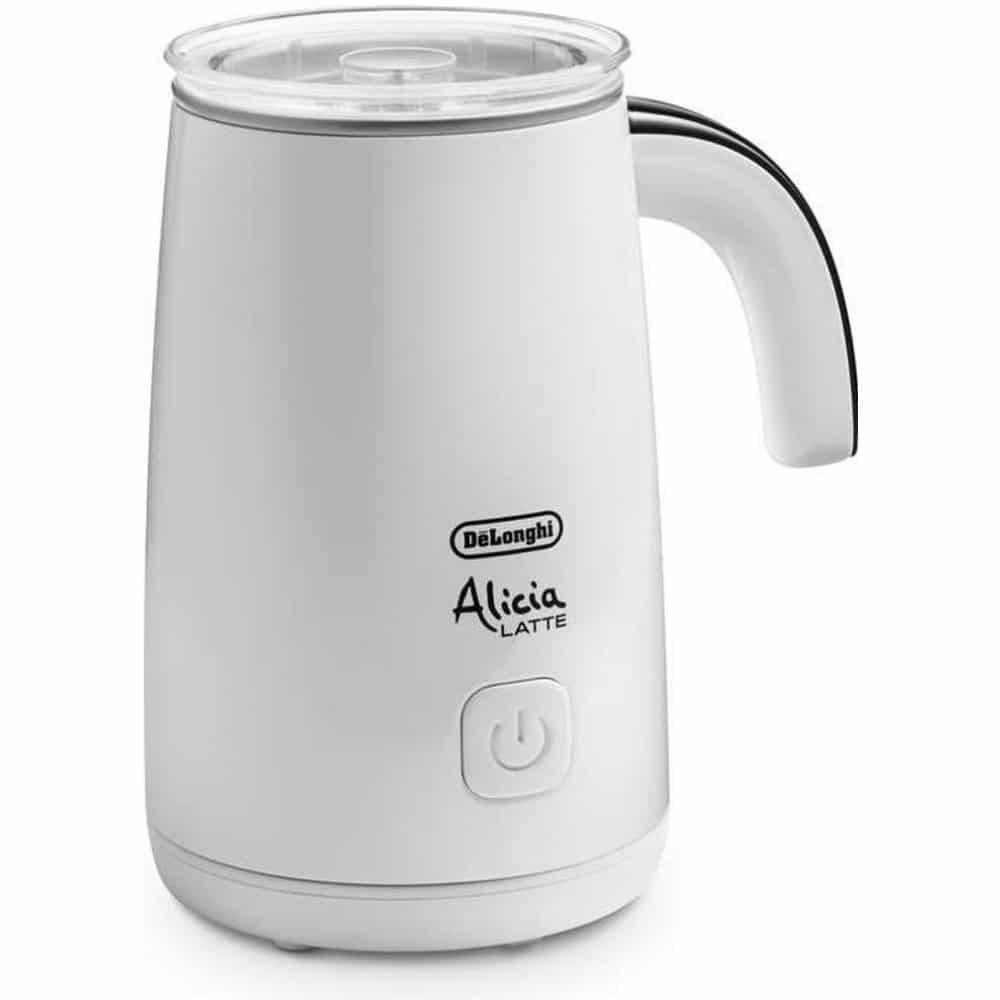 Bílý napěňovač mléka s objemem 250 ml.