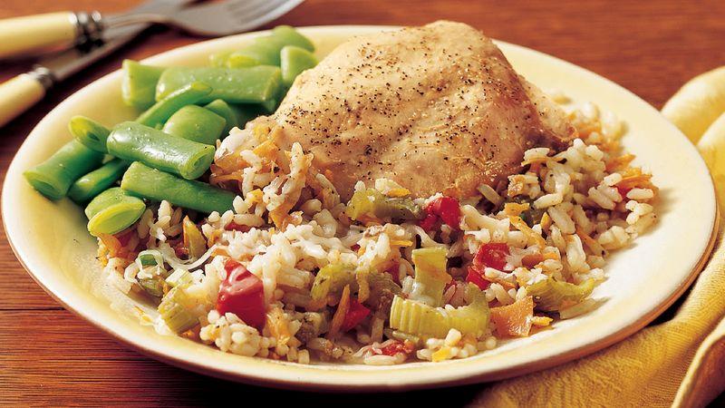 Krůtí z pomalého hrnce s rýží a zeleninou.