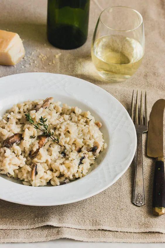 Rýže s houbami na způsob italského rizota.